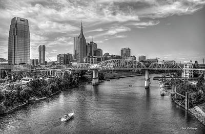 Photograph - The John Seigenthaler Pedestrian Bridge B W Cumberland River Cityscape Art by Reid Callaway