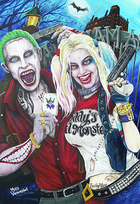 Ben Affleck Wall Art - Painting - The Joker And Harley Quinn by Michael Vanderhoof