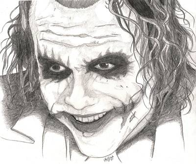 The Dark Knight Drawing - The Joker by Avijit Singh