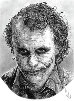 The Dark Knight Drawing - The Joker by Bobby Shaw