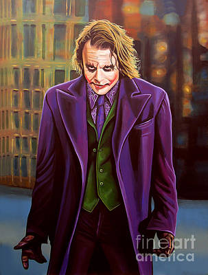 Heath Ledger Painting - The Joker In Batman  by Paul Meijering
