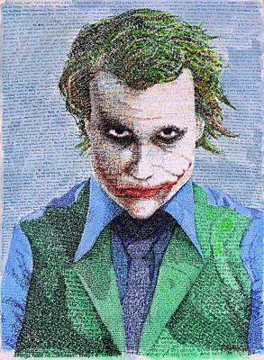 Heath Ledger Wall Art - Painting - The Joker In His Own Words by Phil Vance