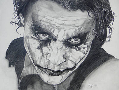 Heath Ledger Wall Art - Drawing - The Joker by Stephen Sookoo