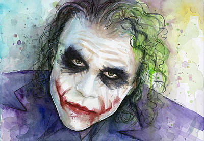 Heath Ledger Painting - The Joker Watercolor by Olga Shvartsur