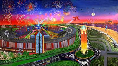 The Jones Beach Theatre With Fireworks Art Print by Bonnie Siracusa