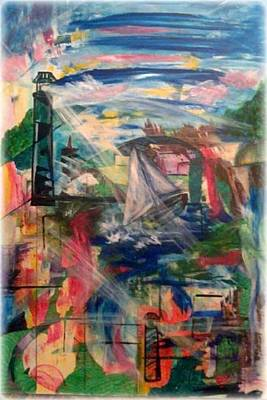 Lighthouse Drawing - The Journey by Gina Benson
