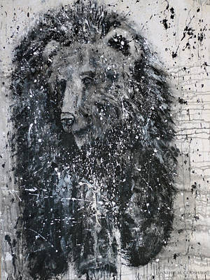 Painting - The Journey Abstract Bear Painting by Jennifer Godshalk