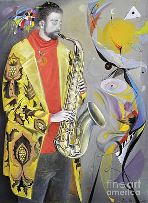 Saxophone Player Painting - The Joy Of Autumn  by Annael Anelia Pavlova