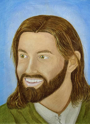 Smiling Jesus Drawing - The Joy Of Christ by Joshua Elzner