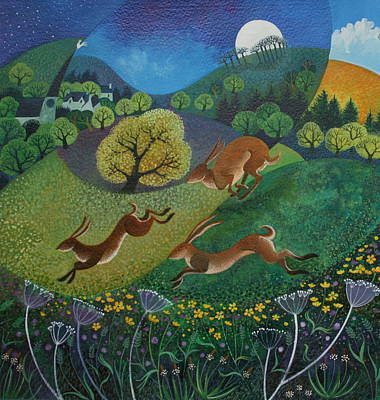 Rabbit Painting - The Joy Of Spring by Lisa Graa Jensen
