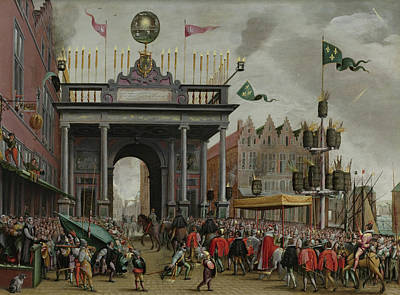 Fireworks Painting - The Joyous Entry Of The Duke Of Anjou - Antwerp by Monogrammist Mhvh