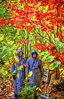The Joys Of Autumn Camping - Paint Art Print by Steve Harrington