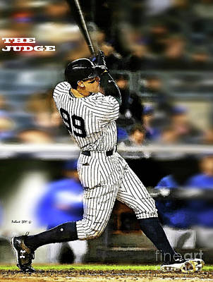 Bryce Harper Mixed Media - The Judge, Aaron Judge, Number 99, New York Yankees by Thomas Pollart