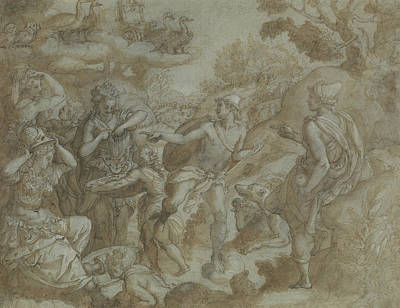 Drawing - The Judgment Of Paris by Alessandro Allori