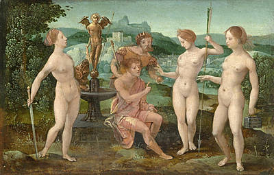 Master Of The Female Half-lengths Painting - The Judgment Of Paris by Attributed to the Master of the Female Half-Lengths