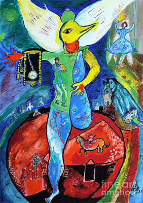 Marc Chagall Painting - The Juggler - Tribute To Chagall by Art by Danielle