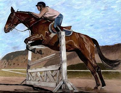 The Jumper - Horse And Rider Painting Art Print