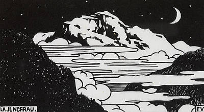 Mountain Drawing - The Jungfrau by Felix Edouard Vallotton