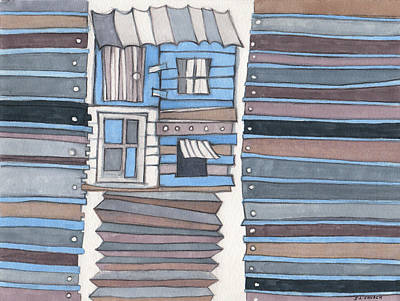 Fence Drawing - The Junkyard Shack by Sandra Church