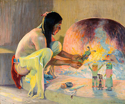 Indians Painting - The Kachina Maker by Celestial Images