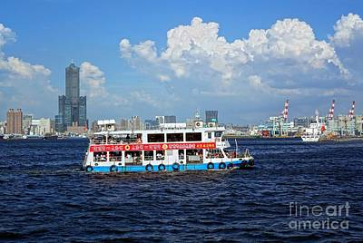 Photograph - The Kaohsiung Harbor Ferry Crosses The Bay by Yali Shi