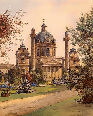 Christian Artwork Painting - The Karlskirche In Vienna by Mountain Dreams