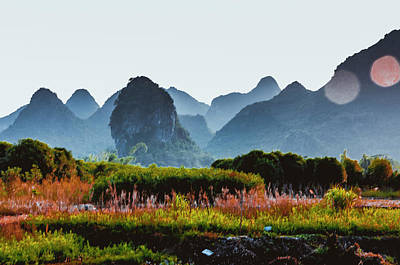 Photograph - The Karst Mountains Scenery by Carl Ning