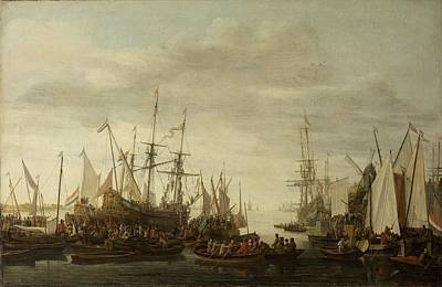 Painting - The Keelhauling Of The Ships Surgeon Of Admiral Jan Van Nes Lieve Pietersz Verschuier 1660  1686 by R Muirhead Art
