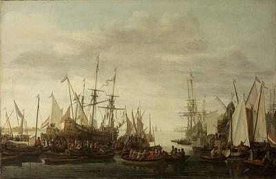 Painting - The Keelhauling Of The Ships Surgeon Of Admiral Jan Van Nes Lieve Pietersz Verschuier 1660  1686 by R Muirhead Art