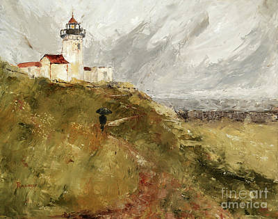Eastern Point Painting - The Keeper by Cindy Roesinger