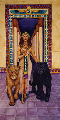 Egyptian Goddess Painting - The Keeper Of The Holy Books by Ann Beeching