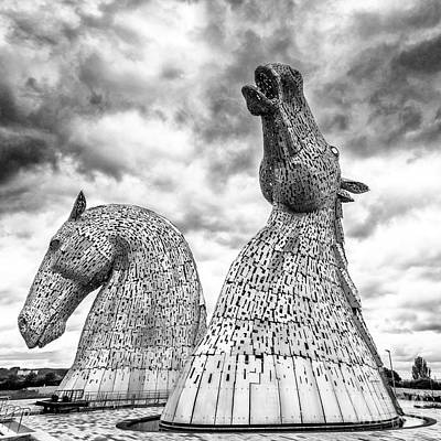 The Kelpies At Falkirk Print by Janet Burdon