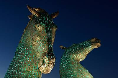 Photograph - The Kelpies In Green by Stephen Taylor