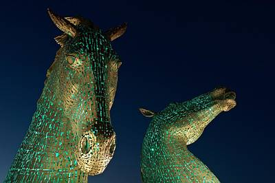 Photograph - The Kelpies Lit Green by Stephen Taylor