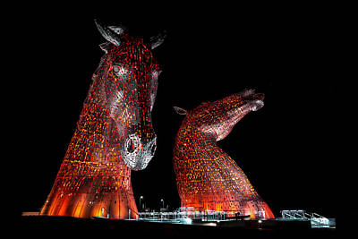 The Kelpies Of Falkirk Print by Gary Finnigan