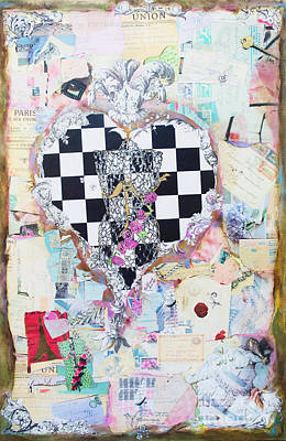 Artyzen Studios Mixed Media - The Key - Ephemera Fashion Heart by WALL ART and HOME DECOR