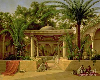 Temple Painting - The Khabanija Fountain In Cairo by Grigory Tchernezov