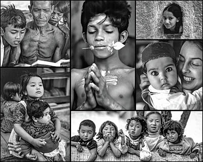 Little Sister Photograph - The Kids Of India Collage 2 Bw by Steve Harrington