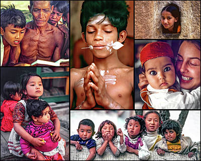 Little Sister Photograph - The Kids Of India Collage 2 by Steve Harrington