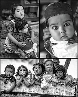 Little Sister Photograph - The Kids Of India Collage Bw by Steve Harrington