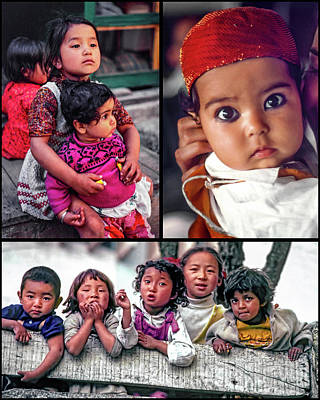 Little Sister Photograph - The Kids Of India Collage by Steve Harrington