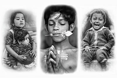 Triptych Photograph - The Kids Of India Triptych Bw by Steve Harrington