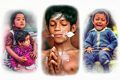 Little Sister Photograph - The Kids Of India Triptych by Steve Harrington