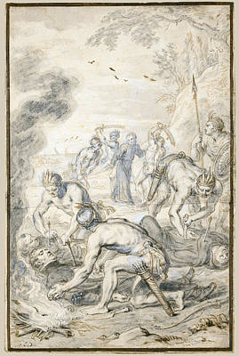 Alvarez Drawing - The Killing Of Jesuits  By Indians In Peru by Abraham Jansz van Diepenbeeck