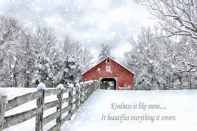 Photograph - The Kindness Winter Barn by Benanne Stiens