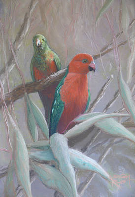 The King And Queen - King Parrots Art Print by Leigh Rust