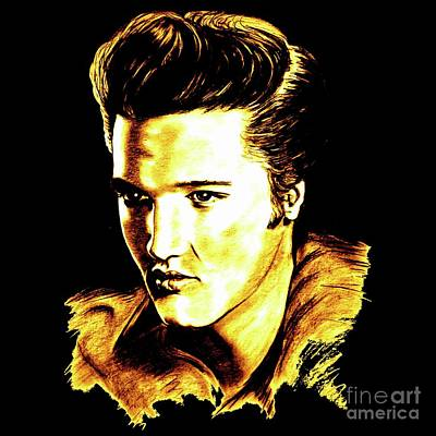 Rock And Roll Drawings - The King by Gitta Glaeser