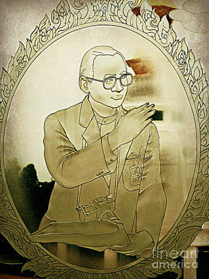Photograph - The King Of Thailand  Bhumibol Adulyadej- Cut Glass Window by Ian Gledhill