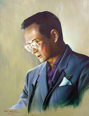 Painting - The King Of Thailand by Chonkhet Phanwichien