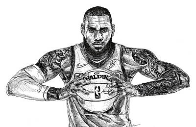 Lebron James Drawing - The King by Patrick Geyser